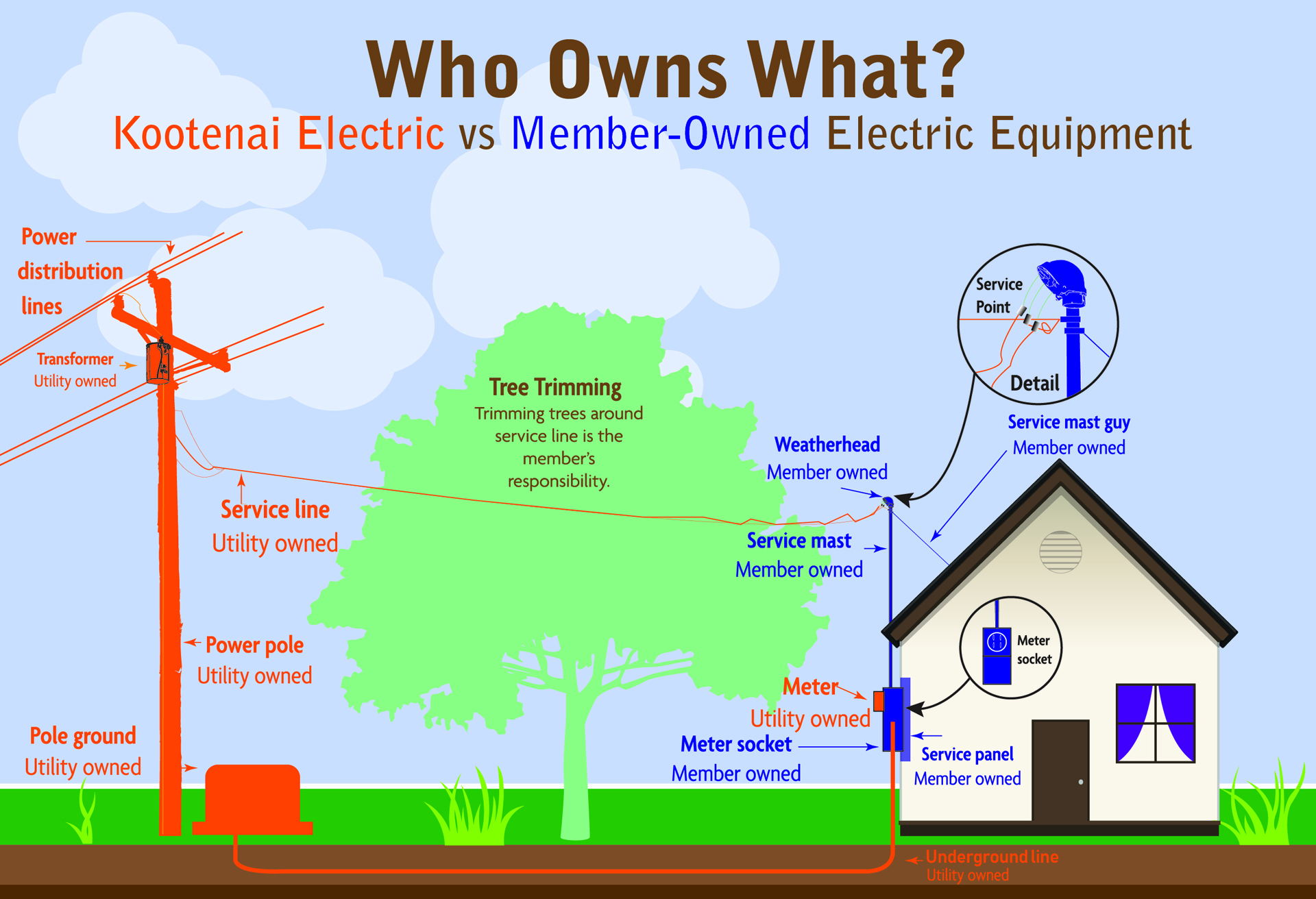 Graphic showing utility vs member ownership